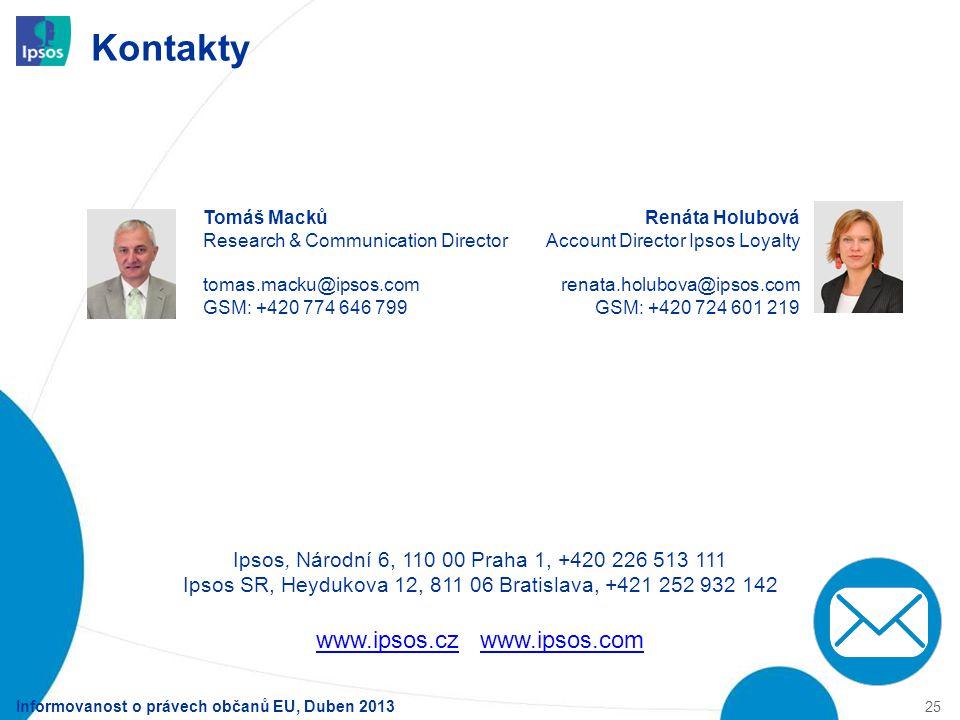 Kontakty Informovanost o právech občanů EU, Duben 2013 25 Ipsos, Národní 6, 110 00 Praha 1, +420 226 513 111 Ipsos SR, Heydukova 12, 811 06 Bratislava