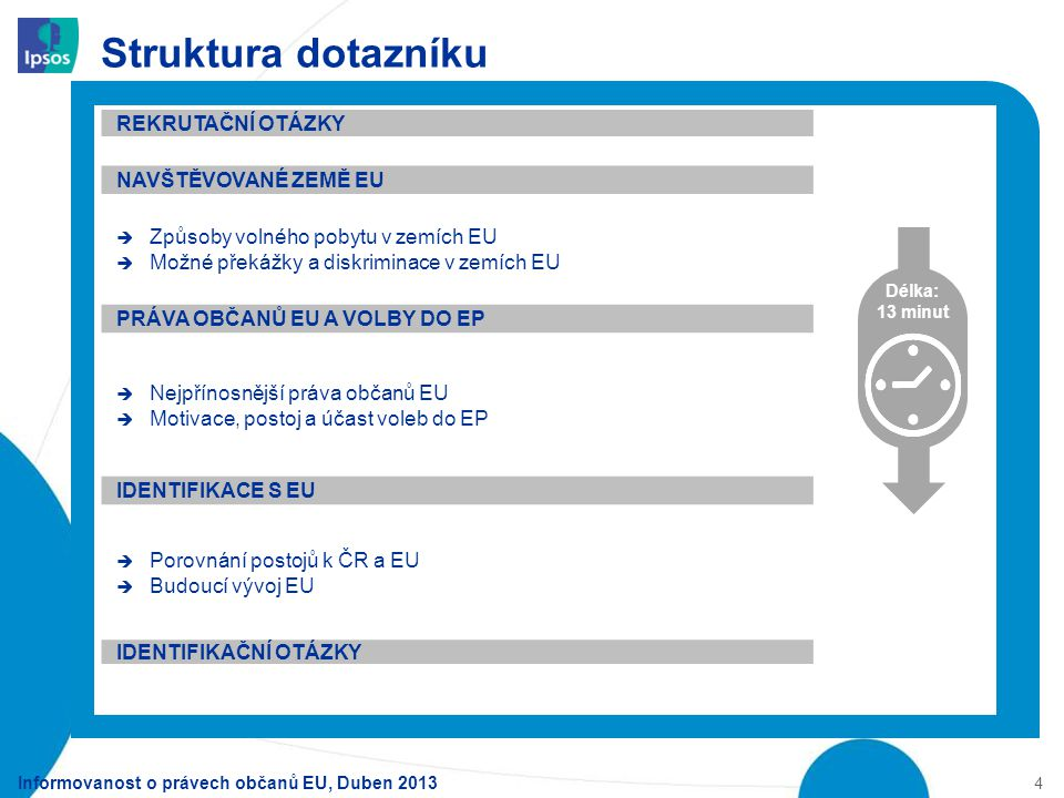 Struktura dotazníku Informovanost o právech občanů EU, Duben 2013 4 Délka: 13 minut REKRUTAČNÍ OTÁZKY NAVŠTĚVOVANÉ ZEMĚ EU  Způsoby volného pobytu v