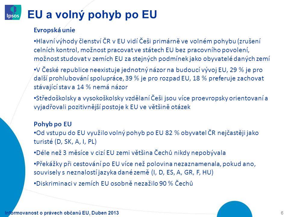 EU a volný pohyb po EU 6 Informovanost o právech občanů EU, Duben 2013 Evropská unie Hlavní výhody členství ČR v EU vidí Češi primárně ve volném pohyb