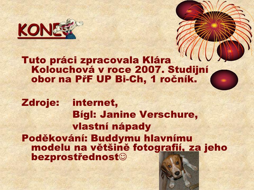 KONEC Tuto práci zpracovala Klára Kolouchová v roce 2007. Studijní obor na PřF UP Bi-Ch, 1 ročník. Zdroje: internet, Bígl: Janine Verschure, vlastní n