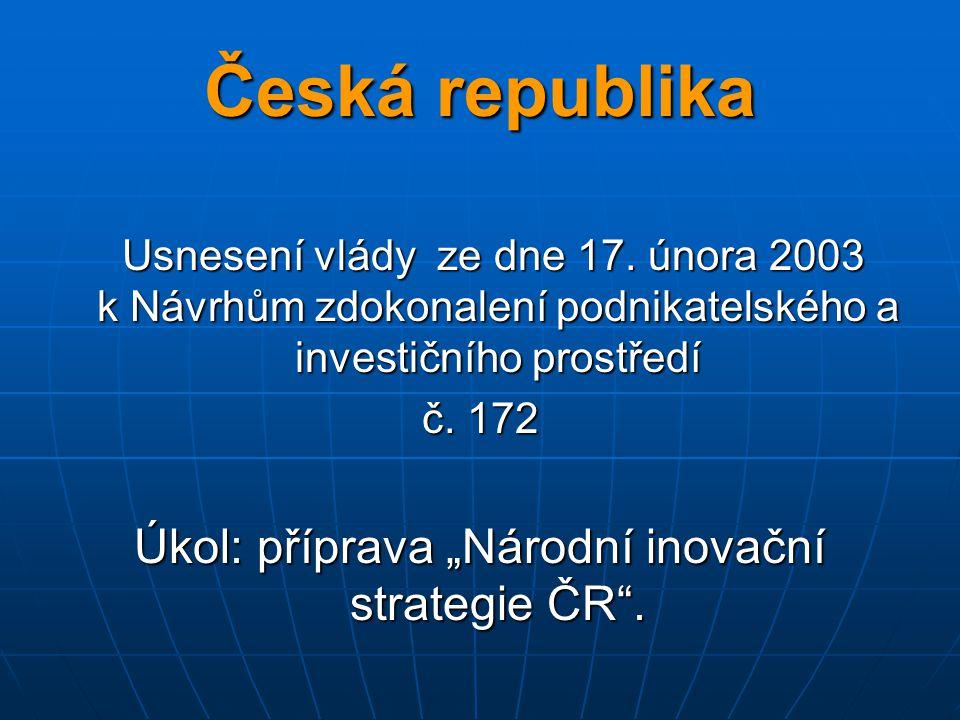 Česká republika Usnesení vlády ze dne 17. února 2003 k Návrhům zdokonalení podnikatelského a investičního prostředí Usnesení vlády ze dne 17. února 20