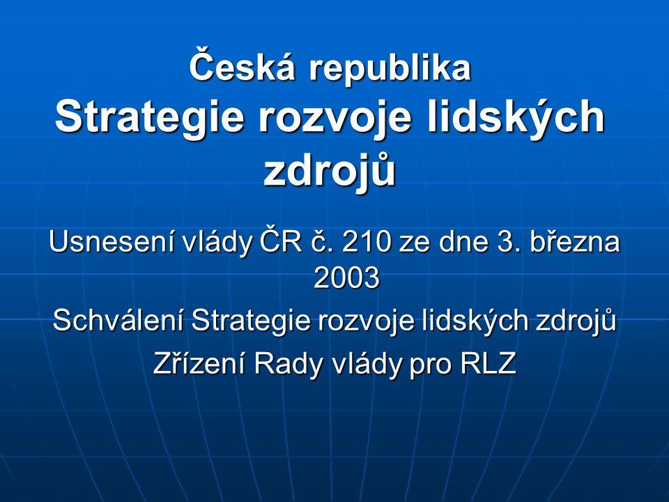 Česká republika Strategie rozvoje lidských zdrojů Usnesení vlády ČR č. 210 ze dne 3. března 2003 Schválení Strategie rozvoje lidských zdrojů Zřízení R