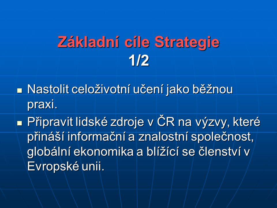 Základní cíle Strategie 1/2 Nastolit celoživotní učení jako běžnou praxi.