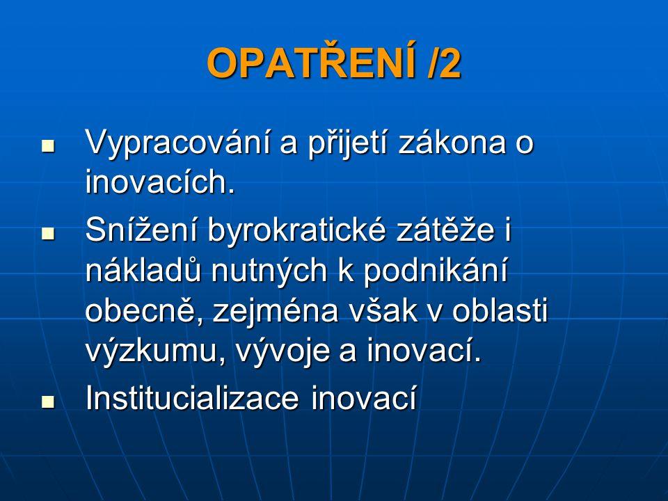 OPATŘENÍ /2 Vypracování a přijetí zákona o inovacích. Vypracování a přijetí zákona o inovacích. Snížení byrokratické zátěže i nákladů nutných k podnik