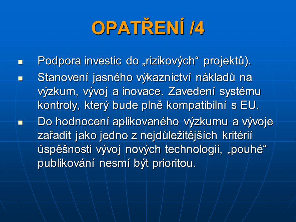 """OPATŘENÍ /4 Podpora investic do """"rizikových projektů)."""