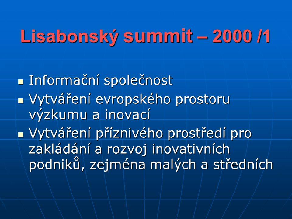Lisabonský summit – 2000 /1 Informační společnost Informační společnost Vytváření evropského prostoru výzkumu a inovací Vytváření evropského prostoru