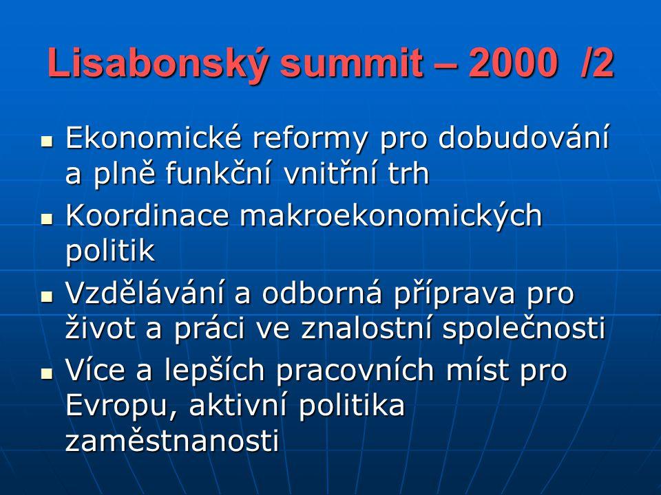 Lisabonský summit – 2000 /2 Ekonomické reformy pro dobudování a plně funkční vnitřní trh Ekonomické reformy pro dobudování a plně funkční vnitřní trh Koordinace makroekonomických politik Koordinace makroekonomických politik Vzdělávání a odborná příprava pro život a práci ve znalostní společnosti Vzdělávání a odborná příprava pro život a práci ve znalostní společnosti Více a lepších pracovních míst pro Evropu, aktivní politika zaměstnanosti Více a lepších pracovních míst pro Evropu, aktivní politika zaměstnanosti