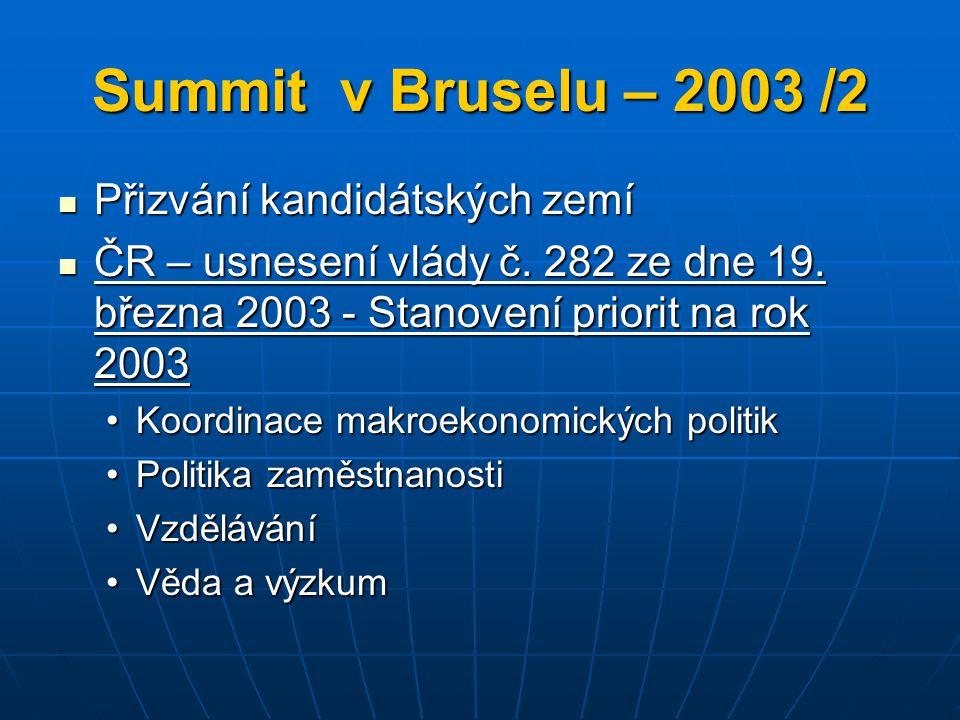 Summit v Bruselu – 2003 /2 Přizvání kandidátských zemí Přizvání kandidátských zemí ČR – usnesení vlády č. 282 ze dne 19. března 2003 - Stanovení prior