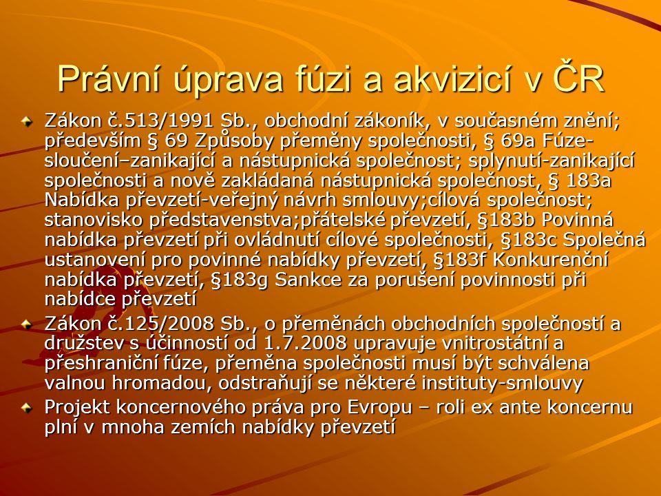 Právní úprava fúzi a akvizicí v ČR Zákon č.513/1991 Sb., obchodní zákoník, v současném znění; především § 69 Způsoby přeměny společnosti, § 69a Fúze-