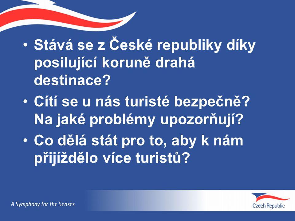 Stává se z České republiky díky posilující koruně drahá destinace? Cítí se u nás turisté bezpečně? Na jaké problémy upozorňují? Co dělá stát pro to, a
