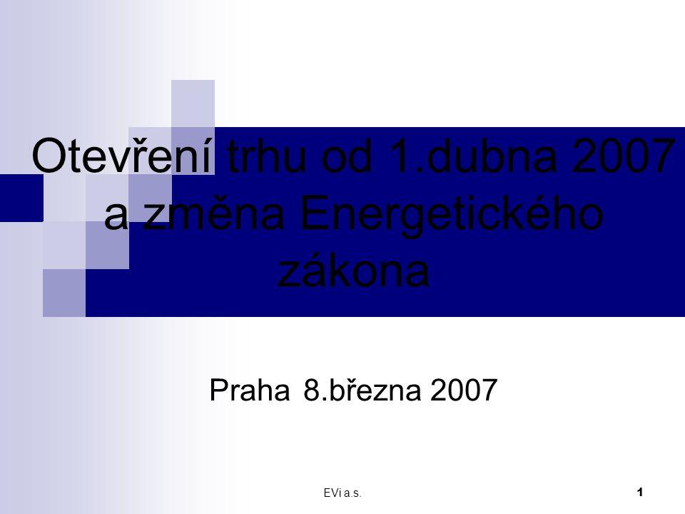 EVi a.s.2 Stav od 1.dubna 2007  Na minulém semináři jsme se zabývali otázkou otevření trhu a potenciálním nebezpečím z toho vyplývajícím.