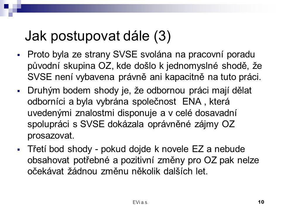 EVi a.s.10 Jak postupovat dále (3)  Proto byla ze strany SVSE svolána na pracovní poradu původní skupina OZ, kde došlo k jednomyslné shodě, že SVSE není vybavena právně ani kapacitně na tuto práci.