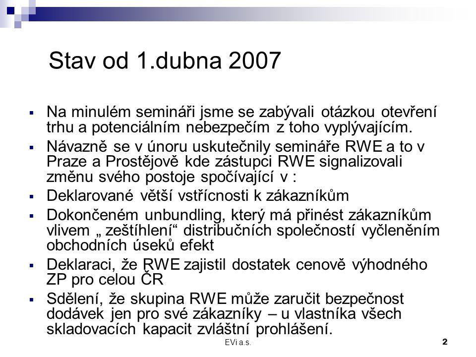 EVi a.s.3 Stav od 1.dubna 2007 (2)  Sdělení, že výše přiměřené marže neodpovídá obchodním rizikům a tržním příležitostem – ale,kdo z odběratelů OZ má nějakou fixní marži, kterou má vždy jistou.