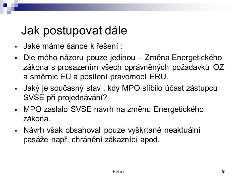 EVi a.s.8 Jak postupovat dále  Jaké máme šance k řešení :  Dle mého názoru pouze jedinou – Změna Energetického zákona s prosazením všech oprávněných požadavků OZ a směrnic EU a posílení pravomocí ERU.