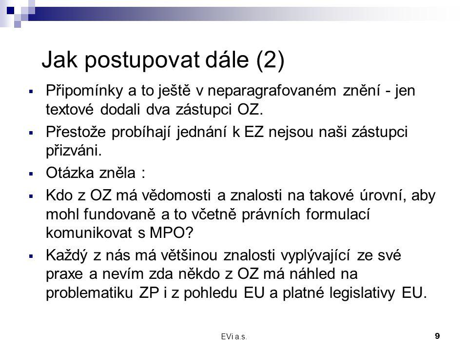 EVi a.s.9 Jak postupovat dále (2)  Připomínky a to ještě v neparagrafovaném znění - jen textové dodali dva zástupci OZ.