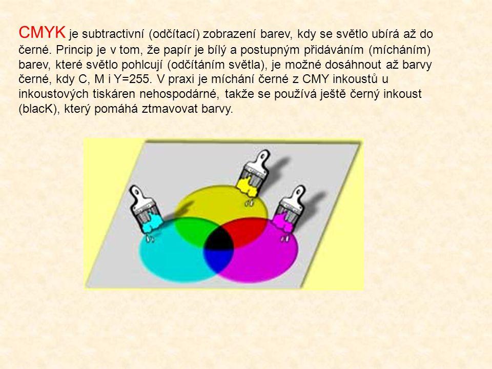 CMYK je subtractivní (odčítací) zobrazení barev, kdy se světlo ubírá až do černé.