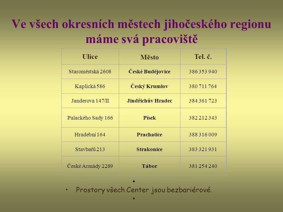 Ve všech okresních městech jihočeského regionu máme svá pracoviště Prostory všech Center jsou bezbariérové.