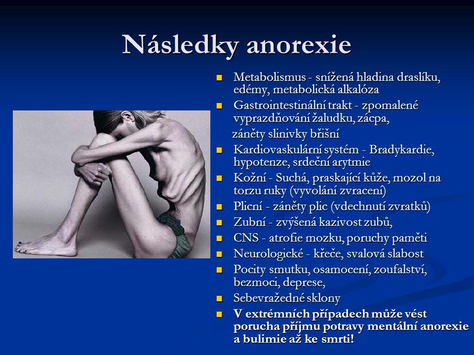 Následky anorexie Metabolismus - snížená hladina draslíku, edémy, metabolická alkalóza Gastrointestinální trakt - zpomalené vyprazdňování žaludku, zác