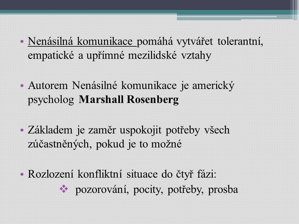 Nenásilná komunikace pomáhá vytvářet tolerantní, empatické a upřímné mezilidské vztahy Autorem Nenásilné komunikace je americký psycholog Marshall Rosenberg Základem je zaměr uspokojit potřeby všech zúčastněných, pokud je to možné Rozlození konfliktní situace do čtyř fázi:  pozorování, pocity, potřeby, prosba