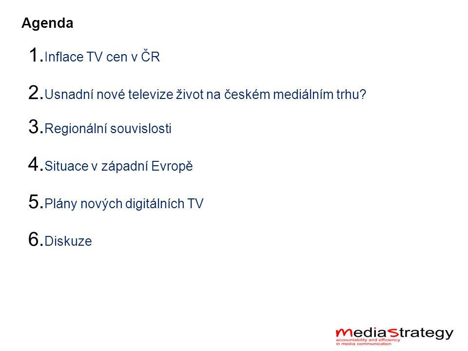 Agenda 1. Inflace TV cen v ČR 2. Usnadní nové televize život na českém mediálním trhu.