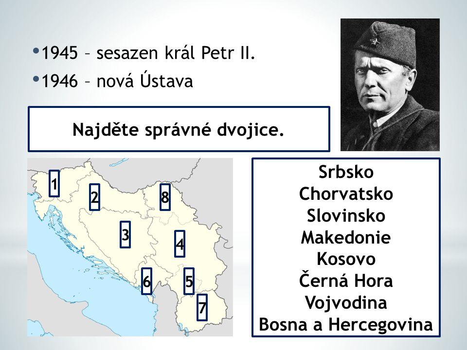 1945 – sesazen král Petr II. 1946 – nová Ústava 1 2 3 8 4 65 7 Srbsko Chorvatsko Slovinsko Makedonie Kosovo Černá Hora Vojvodina Bosna a Hercegovina N