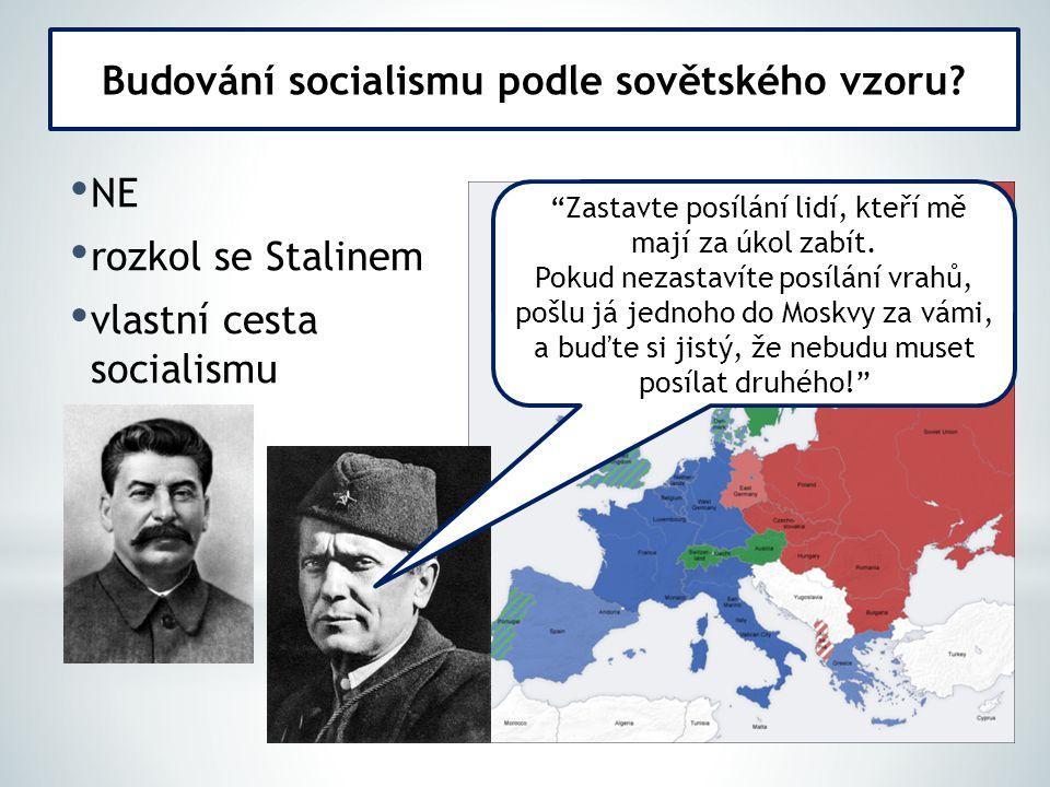 NE rozkol se Stalinem vlastní cesta socialismu Budování socialismu podle sovětského vzoru.