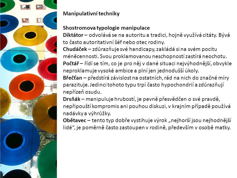 Manipulativní techniky Shostromova typologie manipulace Diktátor – odvolává se na autoritu a tradici, hojně využívá citáty. Bývá to často autoritativn