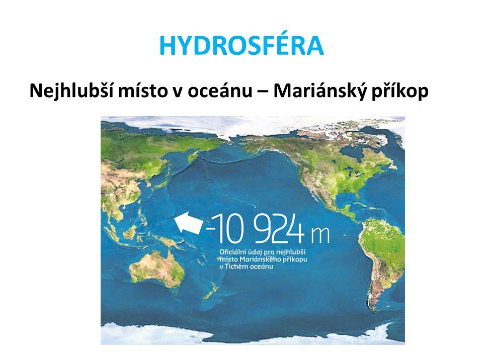 HYDROSFÉRA Nejhlubší místo v oceánu – Mariánský příkop