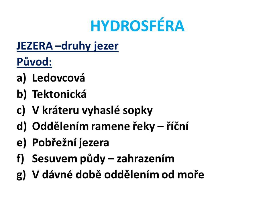 HYDROSFÉRA JEZERA –druhy jezer Původ: a)Ledovcová b)Tektonická c)V kráteru vyhaslé sopky d)Oddělením ramene řeky – říční e)Pobřežní jezera f)Sesuvem p