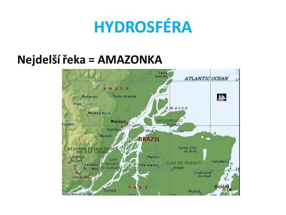 Nejdelší řeka = AMAZONKA