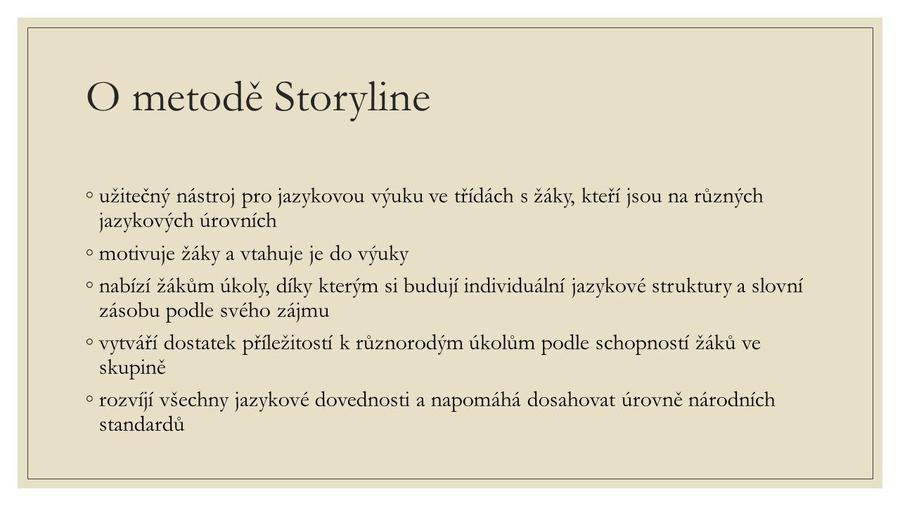 O metodě Storyline ◦užitečný nástroj pro jazykovou výuku ve třídách s žáky, kteří jsou na různých jazykových úrovních ◦motivuje žáky a vtahuje je do výuky ◦nabízí žákům úkoly, díky kterým si budují individuální jazykové struktury a slovní zásobu podle svého zájmu ◦vytváří dostatek příležitostí k různorodým úkolům podle schopností žáků ve skupině ◦rozvíjí všechny jazykové dovednosti a napomáhá dosahovat úrovně národních standardů