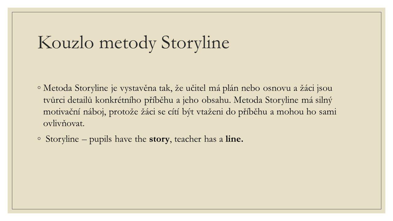 Kouzlo metody Storyline ◦Metoda Storyline je vystavěna tak, že učitel má plán nebo osnovu a žáci jsou tvůrci detailů konkrétního příběhu a jeho obsahu.