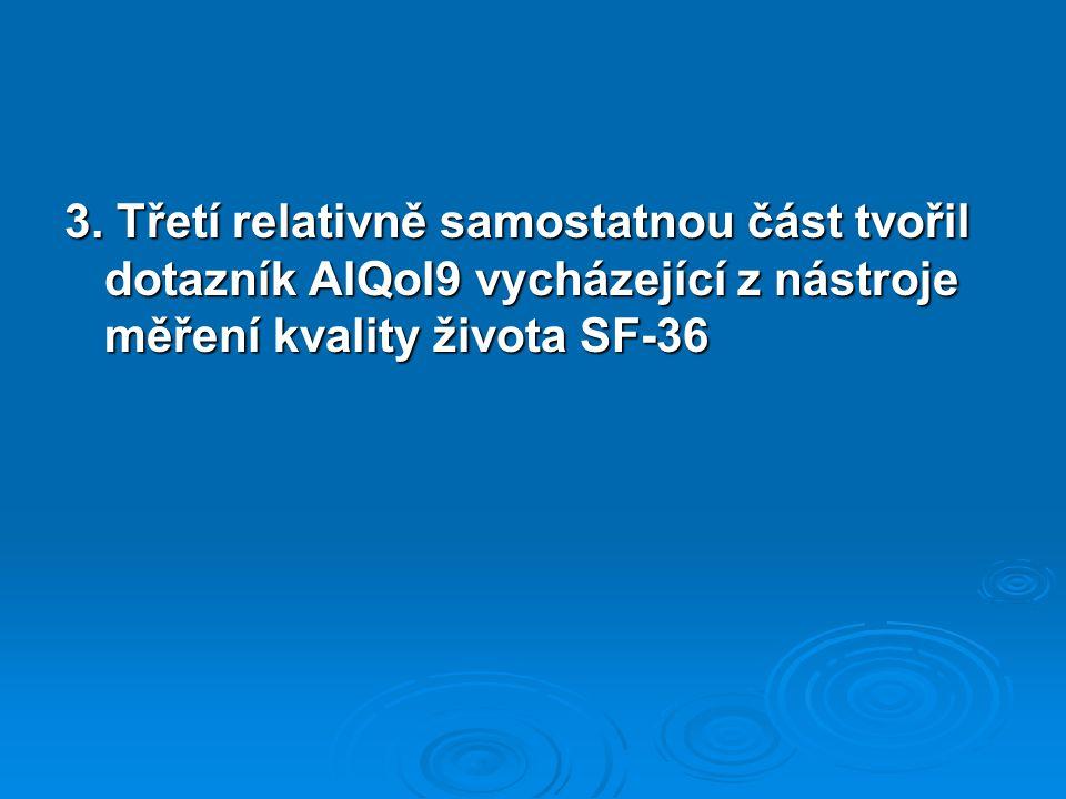 3. Třetí relativně samostatnou část tvořil dotazník AlQol9 vycházející z nástroje měření kvality života SF-36