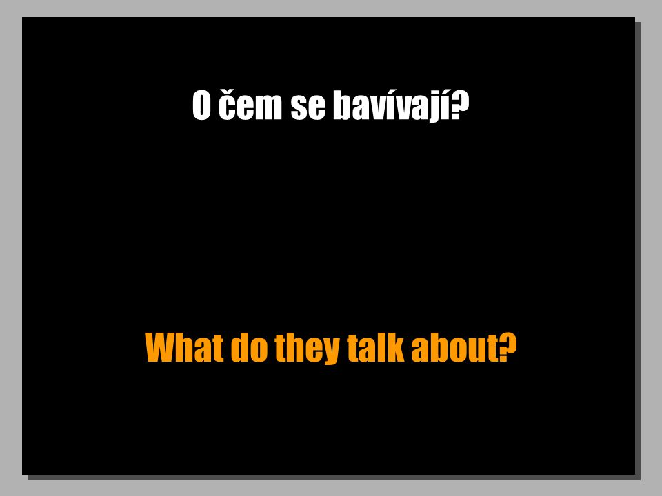O čem se bavívají? What do they talk about?