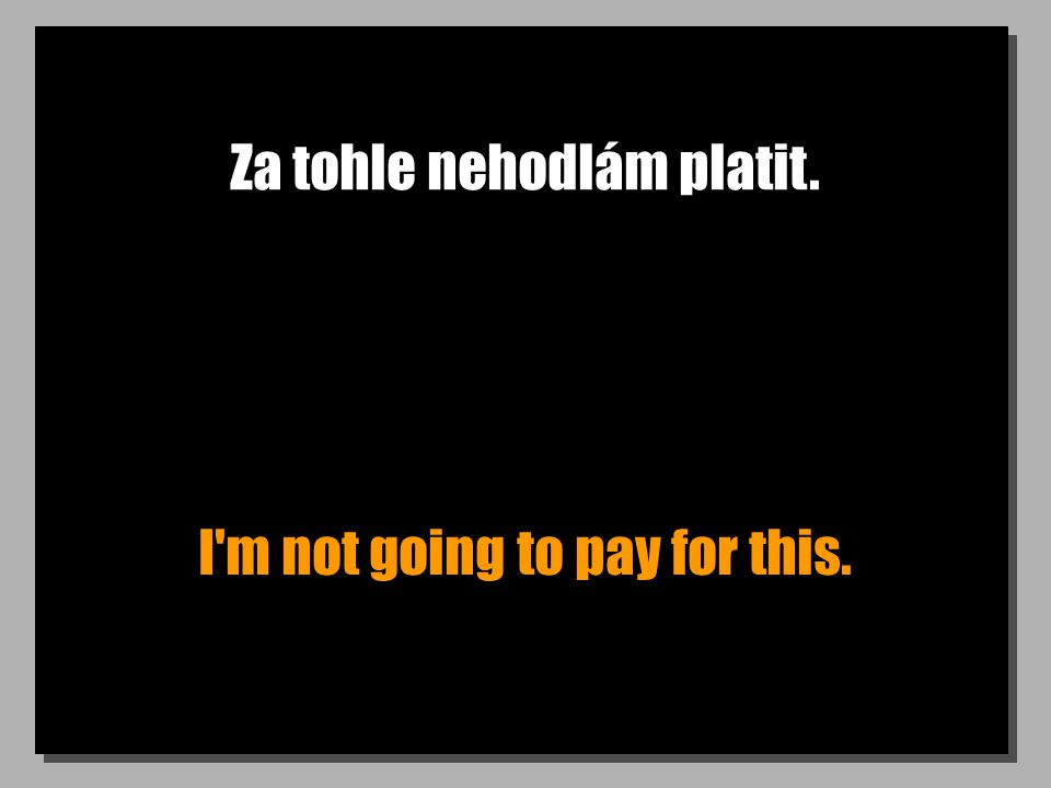 Za tohle nehodlám platit. I'm not going to pay for this.