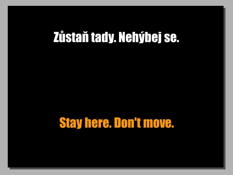 Zůstaň tady. Nehýbej se. Stay here. Don t move.