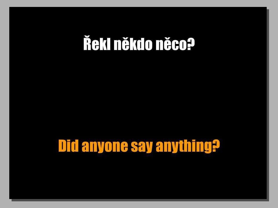 Řekl někdo něco Did anyone say anything