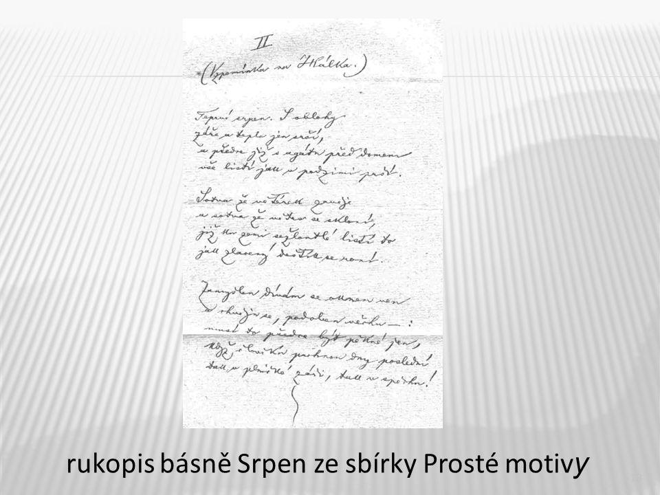 13 rukopis básně Srpen ze sbírky Prosté motiv y