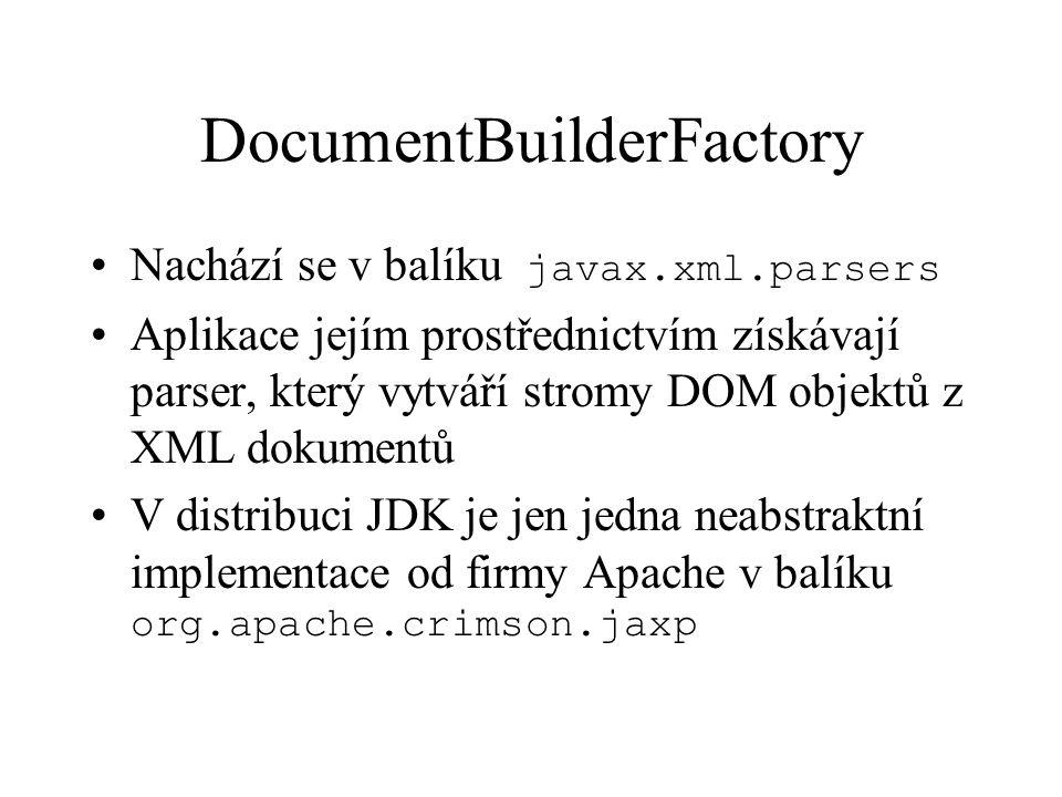 DocumentBuilderFactory Nachází se v balíku javax.xml.parsers Aplikace jejím prostřednictvím získávají parser, který vytváří stromy DOM objektů z XML dokumentů V distribuci JDK je jen jedna neabstraktní implementace od firmy Apache v balíku org.apache.crimson.jaxp