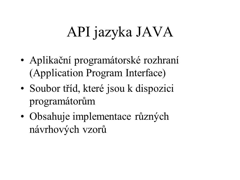 API jazyka JAVA Aplikační programátorské rozhraní (Application Program Interface) Soubor tříd, které jsou k dispozici programátorům Obsahuje implementace různých návrhových vzorů