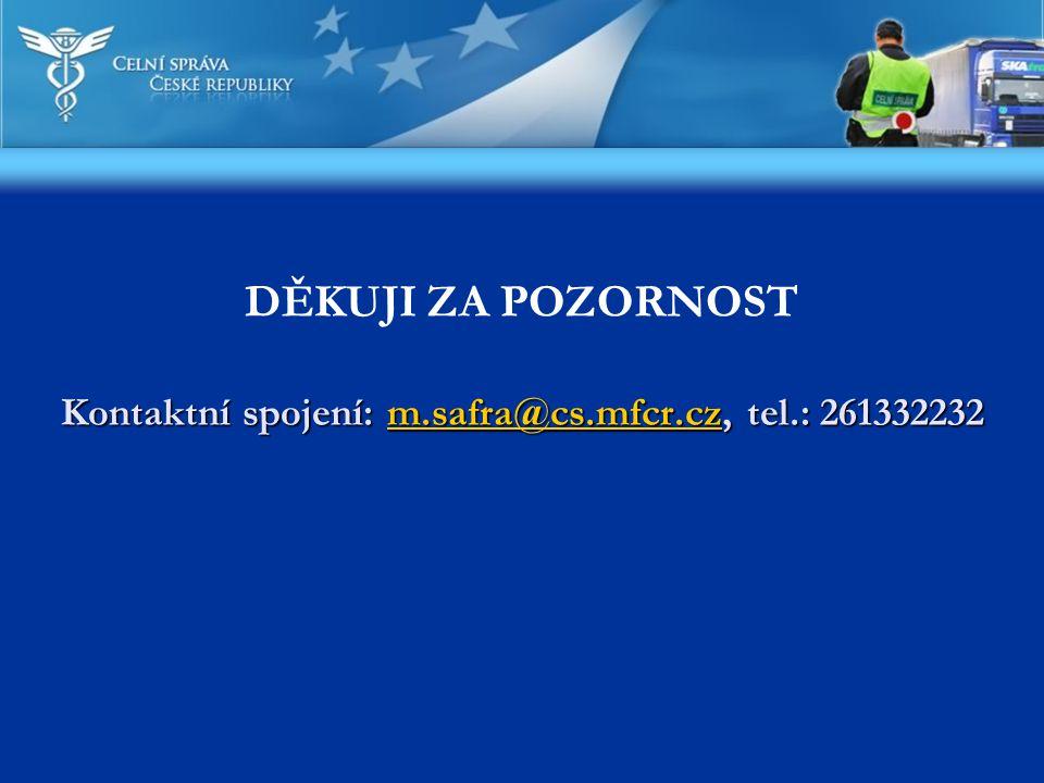 Kontaktní spojení: m.safra@cs.mfcr.cz, tel.: 261332232 Kontaktní spojení: m.safra@cs.mfcr.cz, tel.: 261332232m.safra@cs.mfcr.cz DĚKUJI ZA POZORNOST