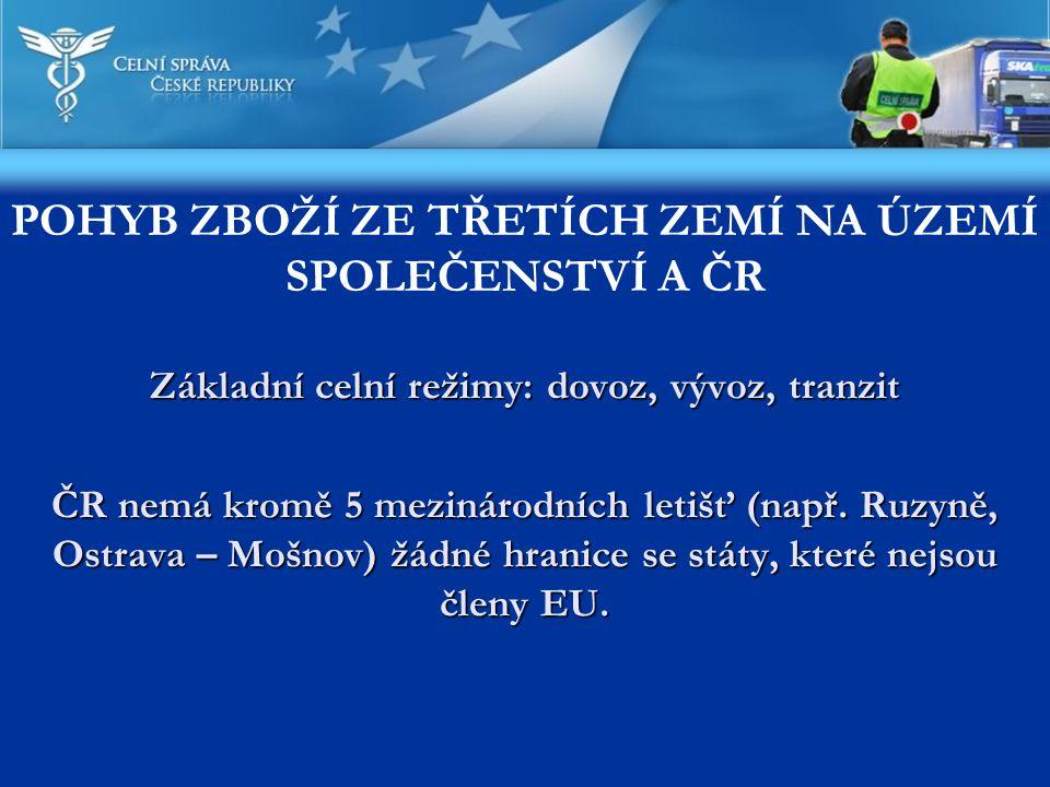 Základní celní režimy: dovoz, vývoz, tranzit ČR nemá kromě 5 mezinárodních letišť (např. Ruzyně, Ostrava – Mošnov) žádné hranice se státy, které nejso