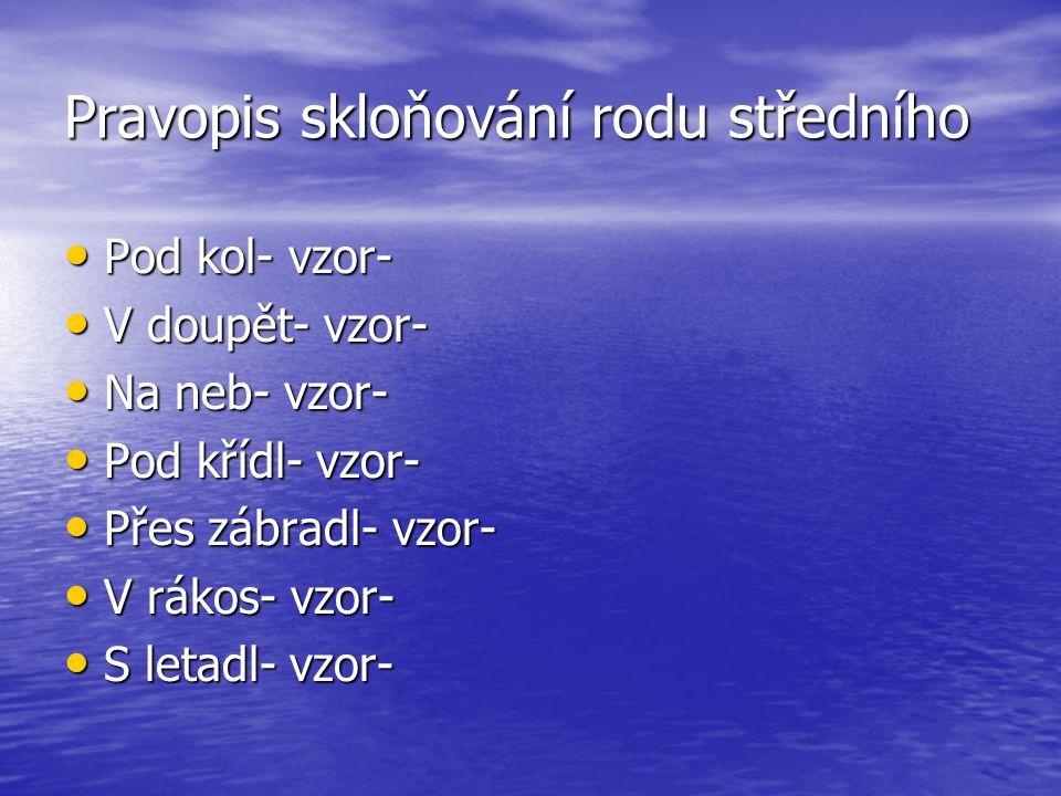 Pravopis skloňování rodu středního Pod kol-Y vzor- městy Pod kol-Y vzor- městy V doupět-I vzor-kuřeti V doupět-I vzor-kuřeti Na neb-I vzor- moři Na neb-I vzor- moři Pod křídl-Y vzor- městy Pod křídl-Y vzor- městy Přes zábradl- Í vzor- stavení Přes zábradl- Í vzor- stavení V rákos-Í vzor- stavení V rákos-Í vzor- stavení S letadl-Y vzor- městy S letadl-Y vzor- městy Hodnocení – 0 chyb 1 Hodnocení – 0 chyb 1 1-2 chyby 2 1-2 chyby 2 ¨ 3-4 chyby 3 5-6 chyb 4 5-6 chyb 4