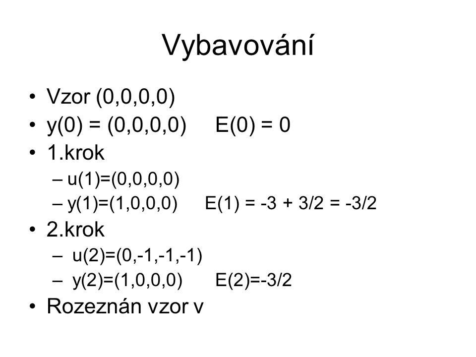 Vybavování Vzor (0,0,0,0) y(0) = (0,0,0,0) E(0) = 0 1.krok –u(1)=(0,0,0,0) –y(1)=(1,0,0,0) E(1) = -3 + 3/2 = -3/2 2.krok – u(2)=(0,-1,-1,-1) – y(2)=(1,0,0,0) E(2)=-3/2 Rozeznán vzor v