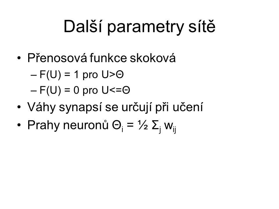 Další parametry sítě Přenosová funkce skoková –F(U) = 1 pro U>Θ –F(U) = 0 pro U<=Θ Váhy synapsí se určují při učení Prahy neuronů Θ i = ½ Σ j w ij