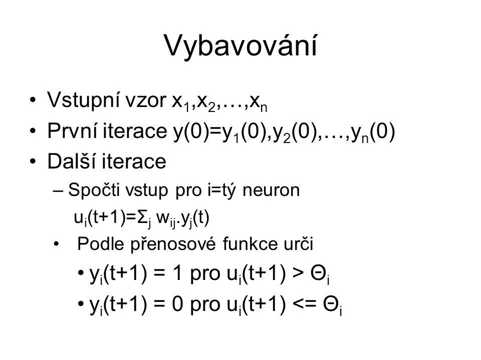 Vybavování Vstupní vzor x 1,x 2,…,x n První iterace y(0)=y 1 (0),y 2 (0),…,y n (0) Další iterace –Spočti vstup pro i=tý neuron u i (t+1)=Σ j w ij.y j (t) Podle přenosové funkce urči y i (t+1) = 1 pro u i (t+1) > Θ i y i (t+1) = 0 pro u i (t+1) <= Θ i
