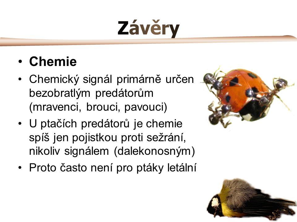 ZávěryZávěry Chemie Chemický signál primárně určen bezobratlým predátorům (mravenci, brouci, pavouci) U ptačích predátorů je chemie spíš jen pojistkou proti sežrání, nikoliv signálem (dalekonosným) Proto často není pro ptáky letální