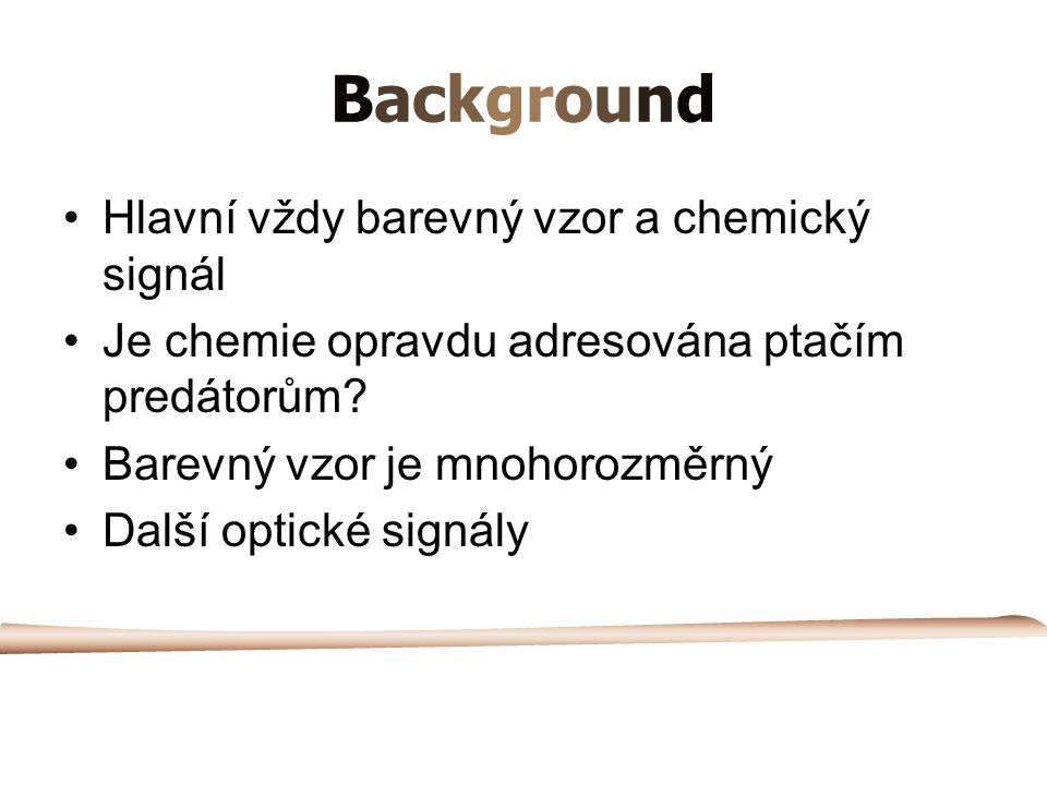 Background Hlavní vždy barevný vzor a chemický signál Je chemie opravdu adresována ptačím predátorům.
