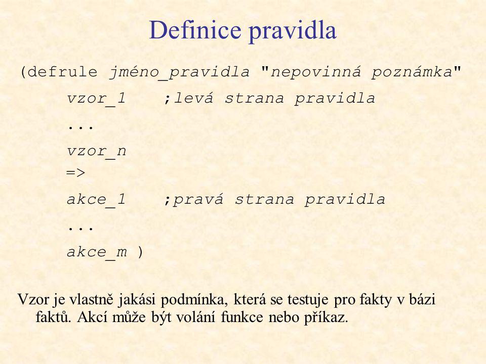 Definice pravidla (defrule jméno_pravidla nepovinná poznámka vzor_1 ;levá strana pravidla...