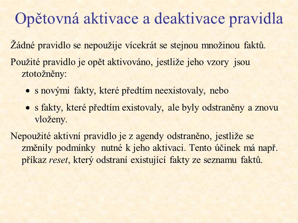 Opětovná aktivace a deaktivace pravidla Žádné pravidlo se nepoužije vícekrát se stejnou množinou faktů.